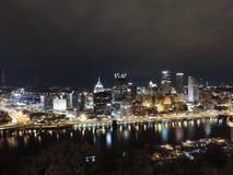Pittsburgh Skyline at night from Mount Washington stock photography