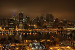 The Pittsburgh skyline at night Royalty Free Stock Image