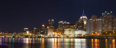 Pittsburgh Skyline at Night Stock Photo