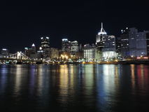 Pittsburgh skyline at Night from PNC Park Stock Images