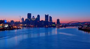 Pittsburgh Skyline at Sunrise Stock Photos