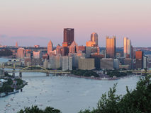 Pittsburgh Skyline at Sunset Royalty Free Stock Photo