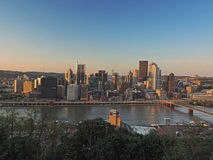 Pittsburgh Skyline at Sunset Stock Photo