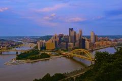 Pittsburgh Skyline. At sunset from Mount Washington Stock Photo