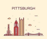 Pittsburgh a skyline vector Pennsylvania USA line stock illustration