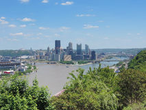 Pittsburgh Skyline from West End Overlook Royalty Free Stock Photos
