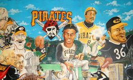 Pittsburgh Sports Legends Mural Stock Images