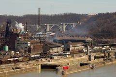 Pittsburgh Steel Mill Far stock photos