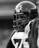 Pittsburgh Steelers Legendary Defensive End Joe Greene. Former Pittsburgh Steelers defensive end Mean Joe Greene #75. (Image taken from black and white negative Stock Photography