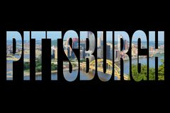 Pittsburgh, United States. Pittsburgh, USA - city name text with photo in background stock photography