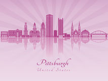 Pittsburgh V2 skyline in purple radiant orchid Stock Photos