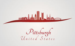 Pittsburgh V2 skyline in red Stock Photos