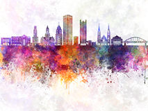 Pittsburgh V2 skyline in watercolor background Royalty Free Stock Photos