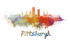 Pittsburgh V2 skyline in watercolor Stock Photo