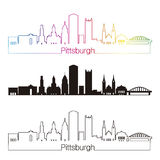 Pittsburgh V2 skypline linear style with rainbow Royalty Free Stock Photography