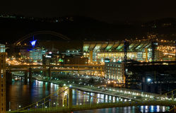 Pittsburgh waterfront at night. A view of riverfront sports stadiums at Pittsburgh, Pennsylvania at night Royalty Free Stock Photo