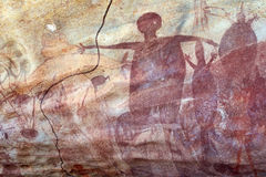 Pittura aborigena della roccia Fotografie Stock