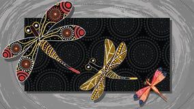 Pittura aborigena di vettore di arte con la libellula illustrazione vettoriale