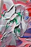 Pittura acrilica con i colori verdi e bianchi Fotografia Stock Libera da Diritti