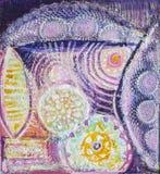 Pittura acrilica del colorfull astratto canvas Fondo di lerciume Unità di struttura del colpo della spazzola royalty illustrazione gratis