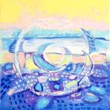 Pittura acrilica del colorfull astratto canvas Fondo di lerciume Unità di struttura del colpo della spazzola Priorità bassa artis illustrazione di stock