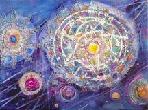 Pittura acrilica del colorfull astratto canvas Fondo di lerciume Unità di struttura del colpo della spazzola Può essere usato per royalty illustrazione gratis
