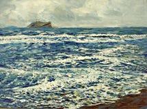 Pittura acrilica del mare dell'olio bianco blu della schiuma illustrazione di stock