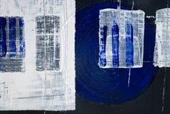Pittura acrilica del nero blu Fotografia Stock