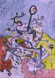 Pittura acrilica dell'orizzonte di vista astratta della collina Immagini Stock Libere da Diritti