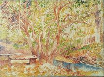 Pittura acrilica della foresta dell'olio rosa di impressionismo illustrazione di stock
