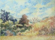 Pittura acrilica della foresta dell'olio tropicale di impressionismo illustrazione di stock