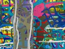 Pittura acrilica di colore di astrattismo sulla tela di backgr variopinto Immagine Stock