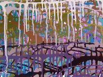 Pittura acrilica di colore di astrattismo sulla tela di fondo variopinto fotografia stock