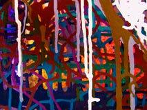Pittura acrilica di colore di astrattismo sulla tela di fondo variopinto Immagine Stock