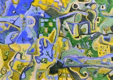 Pittura acrilica di paesaggio aereo astratto Immagine Stock Libera da Diritti
