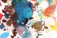 Pittura acrilica variopinta sulla tavolozza Fotografie Stock Libere da Diritti