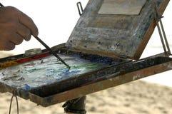 Pittura alla spiaggia Fotografia Stock Libera da Diritti