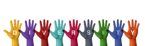 Pittura alzata della mano con colore variopinto con il isolat di parola di diversità fotografia stock