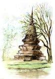 Pittura antica della pagoda della Tailandia Fotografia Stock Libera da Diritti