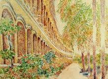 Pittura antica di impressionismo della costruzione dell'arco royalty illustrazione gratis