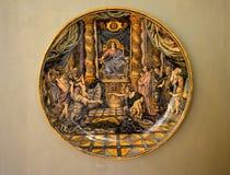 Pittura antica su un piatto Immagine Stock