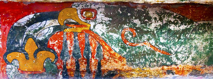 Pittura antica Teotihuacan murale Città del Messico Messico dell'uccello Fotografia Stock Libera da Diritti