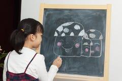 Pittura asiatica del bambino Fotografia Stock Libera da Diritti