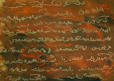 Pittura astratta con l'imitazione dell'antico scritto a mano Fotografia Stock