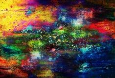 Pittura astratta con la struttura confusa e macchiata Effetto di colore e collage del computer illustrazione di stock