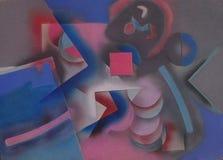 Pittura astratta con le figure geometriche illustrazione di stock
