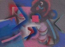 Pittura astratta con le figure geometriche royalty illustrazione gratis