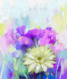 Pittura astratta del fiore della gerbera Fotografia Stock