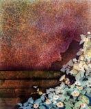Pittura astratta dell'acquerello del fiore I fiori e la foglia dipinti a mano dell'edera sulla parete e sul legno recintano il fo Fotografia Stock