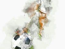 Pittura astratta dell'acquerello della palla di calcio o del pallone da calcio illustrazione di stock